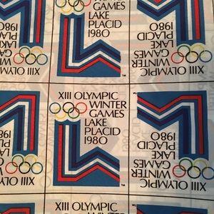 Vintage 1980 Lake Placid Winter Olympics Scarf